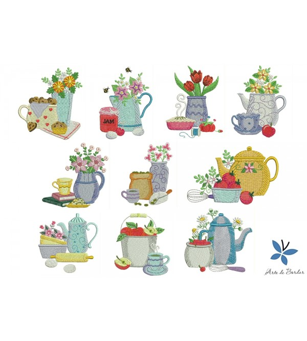 Teapot with flowers 003