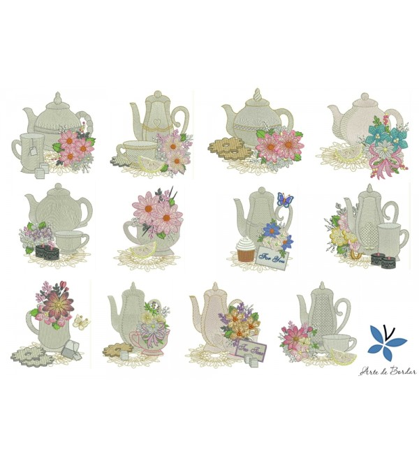 Teapot with flowers 001