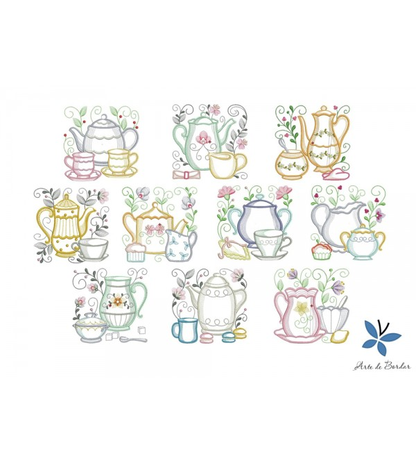 Teapot with flowers 004