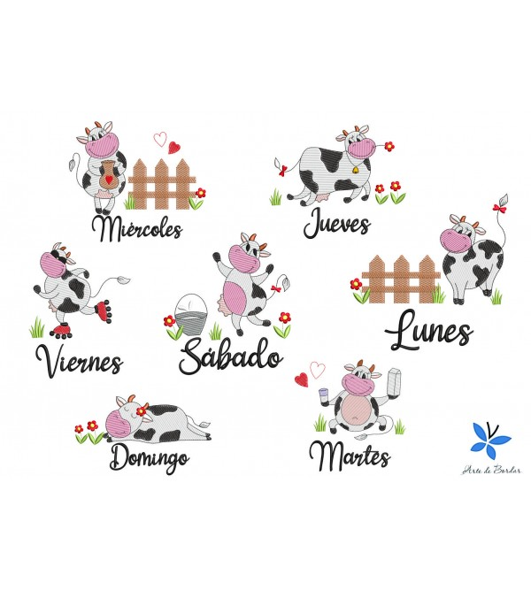 DAYS OF THE WEEK COW 002 Spanish