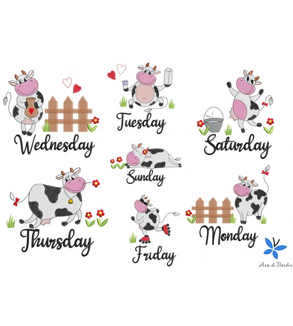 DAYS OF THE WEEK COW 002 English
