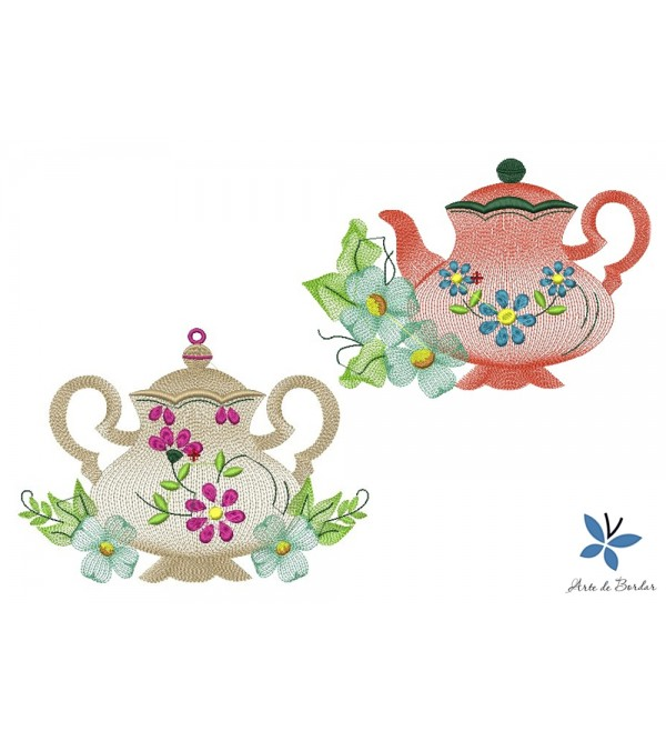 JAR AND TEAPOT WITH FLOWERS 001